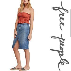 Free People Denim Pencil Skirt in Indigo Wash